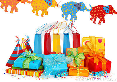 Colorful gift boxes and party hats
