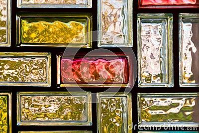 Colorful glass bricks