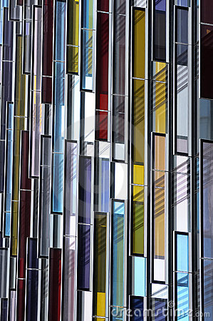 Colorful glass Facade, architecture abstract