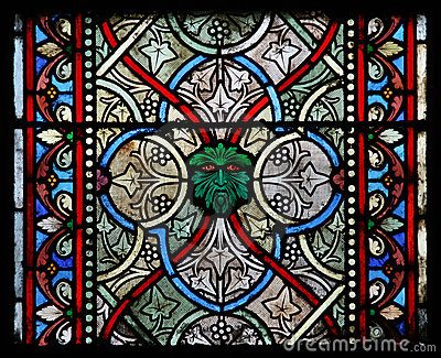 Colorful glass window in a church