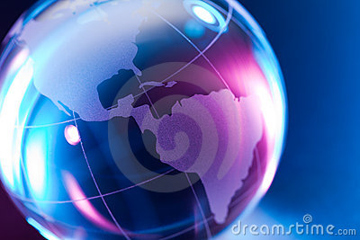 Colorful glass world globe