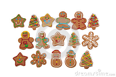 Colorful, glazed gingerbread Christmas cookies
