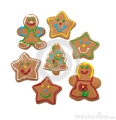Colorful, glazed gingerbread cookies on white