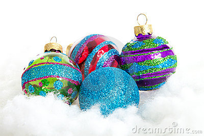 Colorful glitter Christmas balls