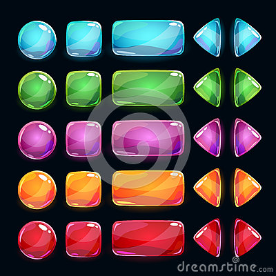 Free Colorful Glossy Buttons Set On Dark Background Royalty Free Stock Photos - 63834418