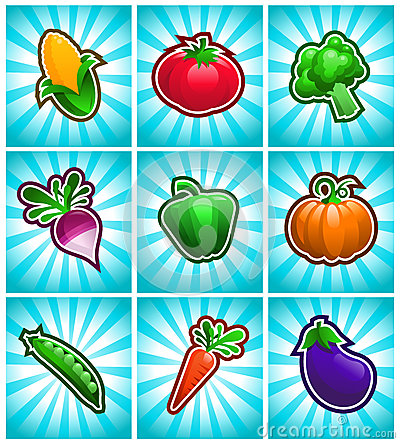 Colorful Glossy Vegetable Icons