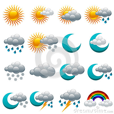 Colorful Glossy Weather Icons.