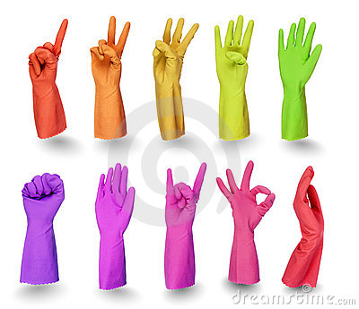 Colorful gloves signs  on white