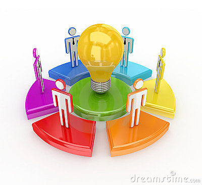 Colorful graph, bulb and 3d small people.