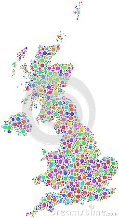 Colorful Great Britain map