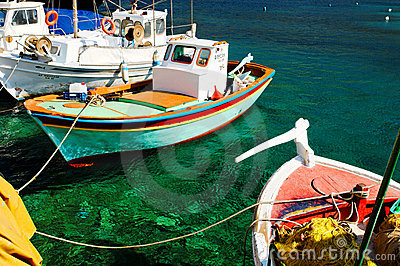 Colorful Greek Fishing Boats Stock Image - Image: 22603091
