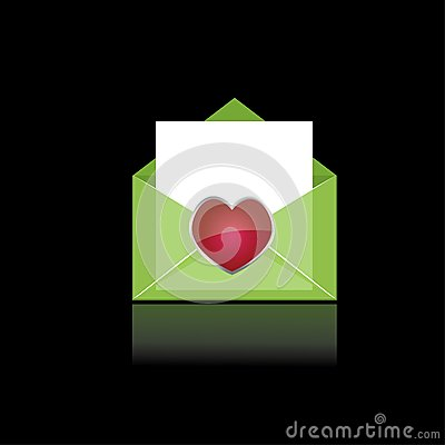 Colorful green mail with heart