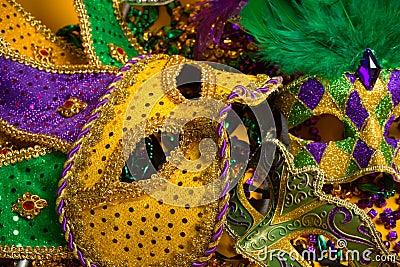 Colorful group of Mardi Gras or venetian masks