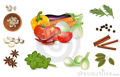 The colorful group of vegetables and spice set.