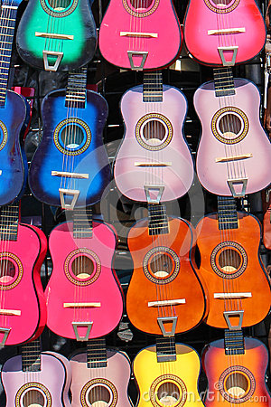 Free Colorful Guitars Stock Photography - 48389792