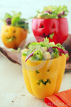 Free Colorful Halloween Food With Stuffed Peppers Royalty Free Stock Photos - 44111088