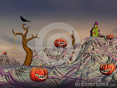 Colorful halloween scene
