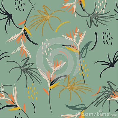 Free Colorful Hand Drawn Art Illustration Artistic Abstract Watercolor Brush Seamless Pattern. Hand Drawn Sketch Tropical Bird Of Royalty Free Stock Photos - 137391838