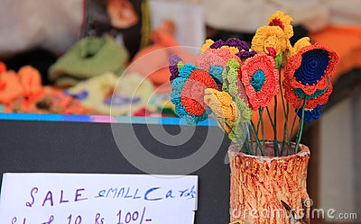 Colorful hand made flowers on sale made up of wool