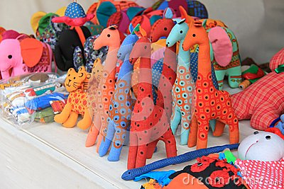 Colorful hand made toys made up of cloths