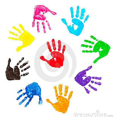 Free Colorful Hand Prints Royalty Free Stock Images - 10357439