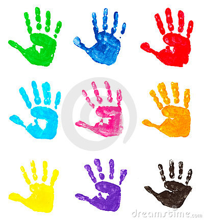 Free Colorful Hand Prints Royalty Free Stock Images - 10399649