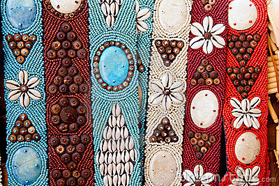 Colorful handcrafted belts with sea shells