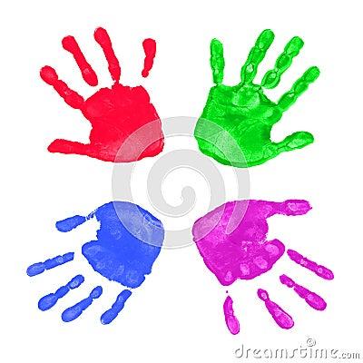Colorful hands prints