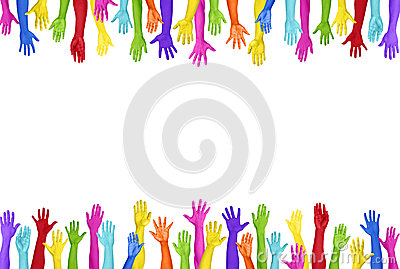Colorful Hands Raised On White Background Stock Photo