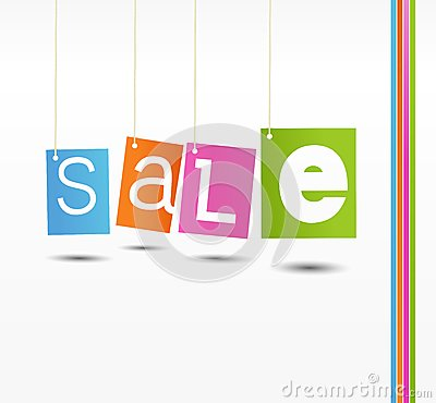 Colorful hanging sale labels