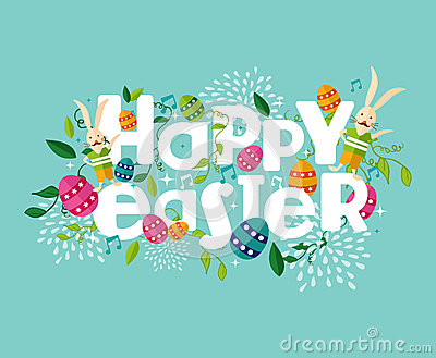 Colorful Happy Easter composition Vector Illustration