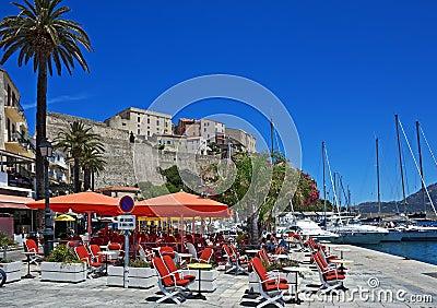 Colorful harbor with citadel, Calvi, Corsica