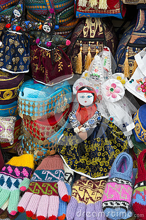 Colorful Hats, Gloves, Textile Souvenirs