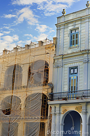 Colorful havana buildings detail