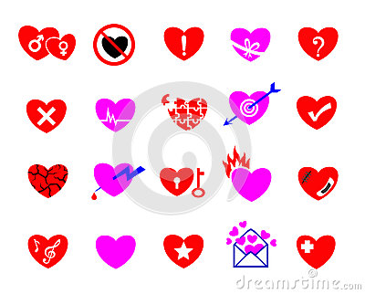 Colorful heart concept icon set
