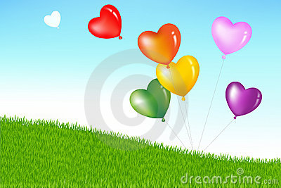Colorful Heart Shape Balloons. Vector
