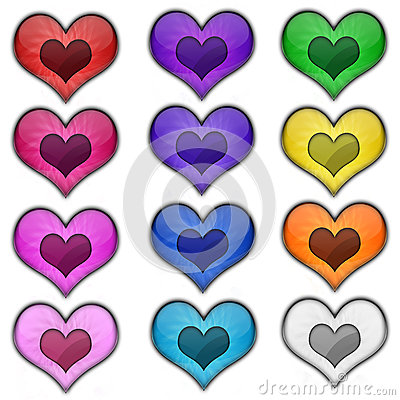 Free Colorful Heart Valentine Love Web Icon Buttons Stock Images - 43693684