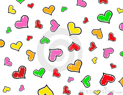Colorful Hearts background / texture