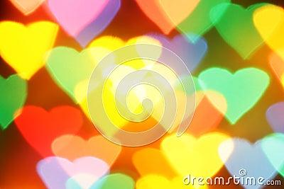 Colorful hearts bokeh