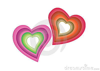 Colorful hearts - vector