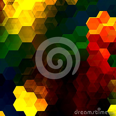 Free Colorful Hexagon Mosaic. Abstract Overlapping Hexagons. Decorative Artistic Background. Modern Digital Art. Multicolored Shapes. Stock Photography - 51086882