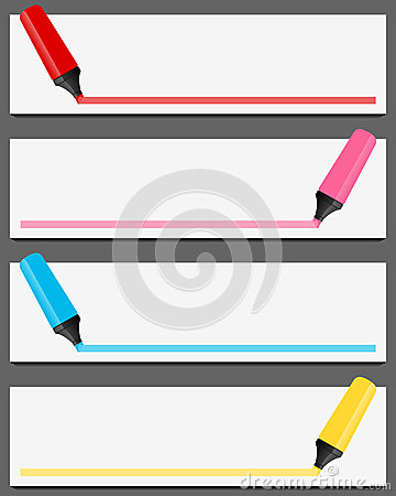 Colorful Highlighter Banners Set