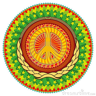 Colorful hippie emblem.