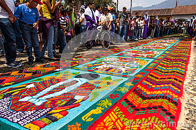 Colorful Holy Week Carpet In Antigua Guatemala Editorial