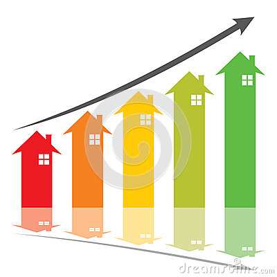 Colorful home price increase graph