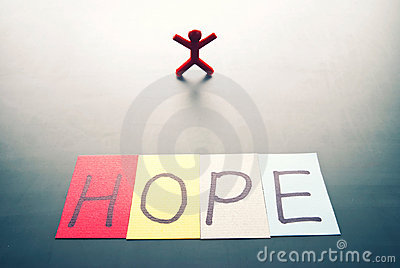 Colorful hope word and single person