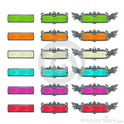 Free Colorful Horizontal Buttons For Game Or Web Design. Stock Photos - 99869193