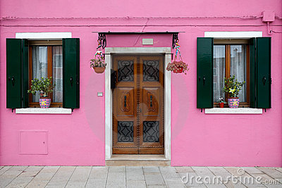 Colorful house in Burano island, Venice, Italy