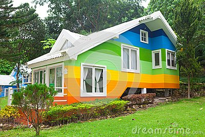 Colorful house in forest stock photo image 41510840 for Colorful tree house