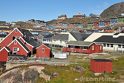 Colorful houses, buildings in Qaqortoq, Greenland